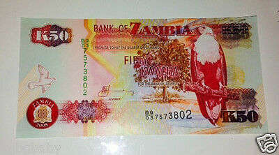 5 x Uncirculated BANKNOTES_ZAMBIA_Consecutive Serial Numbers