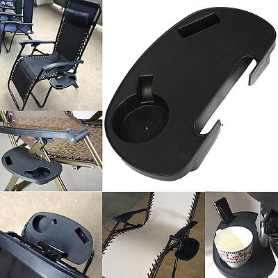 Clip-On Folding Relaxer Beach Chair Side Table Tray Cup Drink MP3 Player Holder
