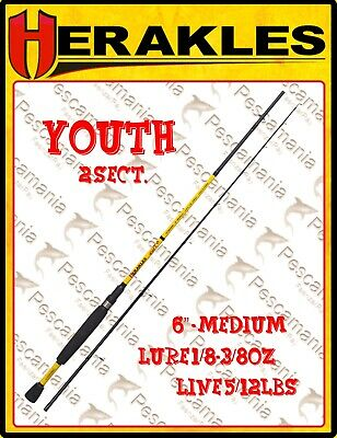 Canna spinning Colmic Herakles Youth 180 cm. 2 sezioni black bass trota