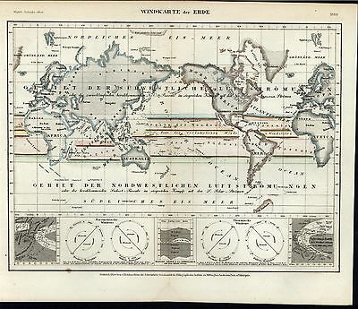 Air Current of the World c.1850 old German scientific map