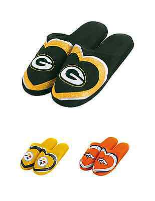 NFL Football Team Logo Womens 2015 Glitter Slide Heart Slippers -Pick Your Team!