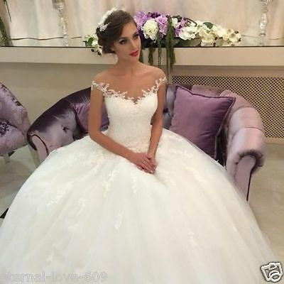 New Lace White/ivory Wedding Dress Bridal Gown Custom Size 6-8-10-12-14-16-18