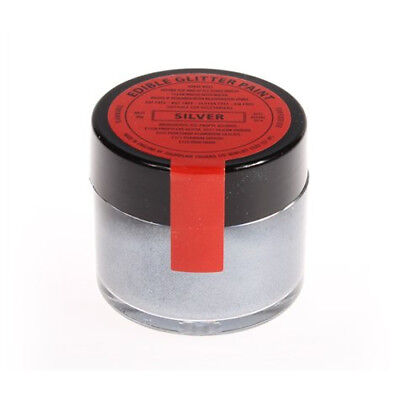 Sugarflair 20g SILVER Edible Glitter Paint for Decorating Cake Icing Sugarpaste