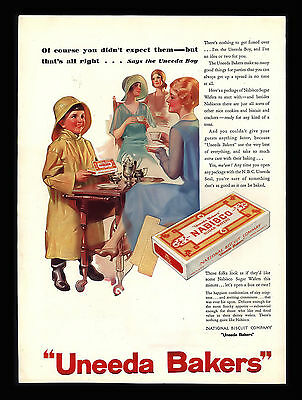 Vintage 1930 Uneeda Bakers  Nabisco- Sugar Wafers- Soda Crackers  Art Print Ad