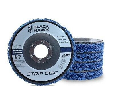 "10 Pack 4.5""x7/8"" Black Hawk Easy Strip 4-1/2"" Discs Remove Paint Rust & Clean"