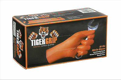 Box of 100 Large Pairs TIGER GRIP 7 mil Superior Grip Orange Nitrile Gloves
