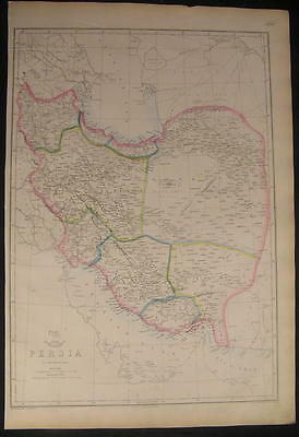 Persia Caspian Sea to Gulf c.1863 old vintage detailed large Weller map