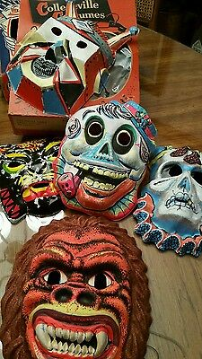 VINTAGE LOT OF 4  HALLOWEEN MASKS WITH 2 BOX