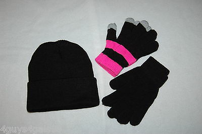 Womens Juniors BLACK KNIT STOCKING HAT Two Pair Stretchy Gloves HOT PINK STRIPE