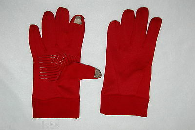 Womens Winter Gloves SOFT RED FABRIC Texting Smartphone Fingertips