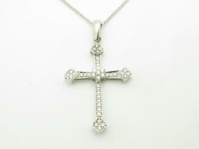 14k Solid White Gold Genuine Diamond Vintage Design Pave Cross Necklace Gift