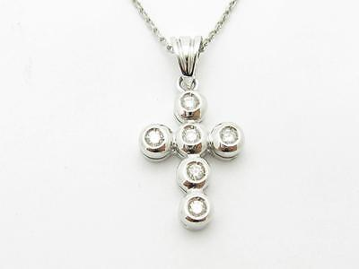 14k Solid White Gold Genuine Diamond Bezel Set Vintage Design Cross Necklace