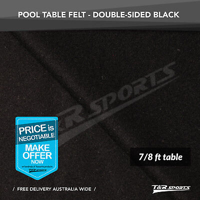Black Double-sided Wool Pool Snooker Table Cloth/Felt for 7/8FT
