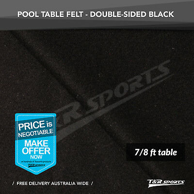 New!  Black Double-Sided Wool Pool Snooker Table Cloth/felt Suits 7''&8''