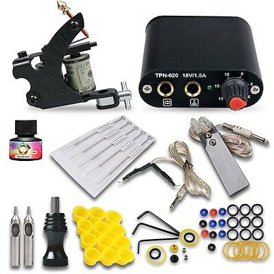 Complete Tattoo Kit needles Machine Guns Power Supply USA Color Ink MGT-18GOD-10