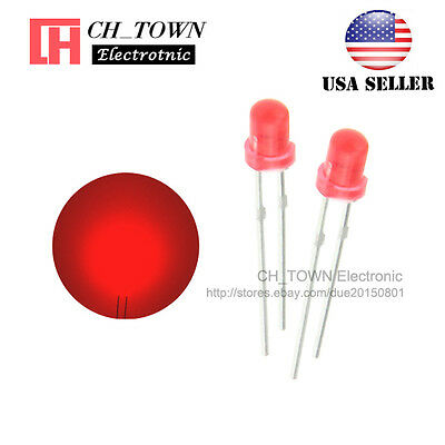 100pcs 3mm Diffused Self Red Light Blink Blinking Flash LED Diodes Lamp USA