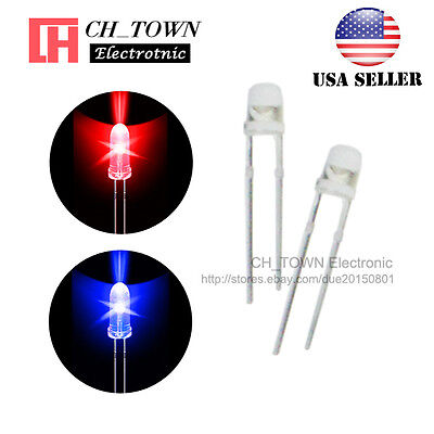 100pcs 3mm Water Clear Bi-color Red Blue Light Blingking Flash LED Diodes USA