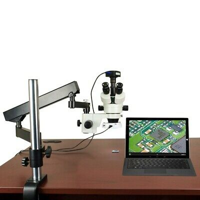 3.5X-90X 720p WiFi Digital Articulating Stereo Zoom Microscope with 64 LED Light