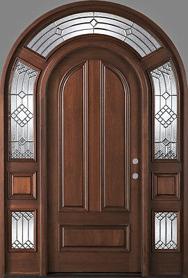 "Solid Mahogany Wood Entry Door with Sidelights by Monarch Custom Doors 61"" x 96"""