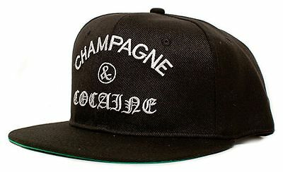 ad813fcdeaa New Champagne   Cocaine Embroidered Flat Bill 5 Panel Black Snapback Hat Cap