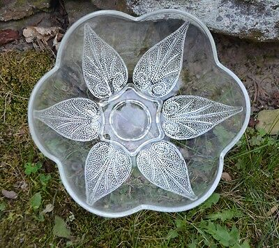Vintage Anchor Hocking Clear Pressed Glass, Scalloped Bowl, Beaded Leaf Design