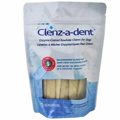 Clenzadent  Rawhide Ezymed-Coated Chews Small Dogs Pet Dental health 30ct USA