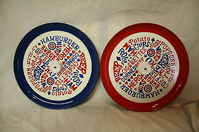 set of 2 vintage red white and blue serving trays