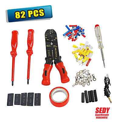 New 82 PC PROFESSIONAL CABLE WIRE STRIPPER & CRIMPING CRIMPER TOOL STRIPPING