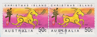 (CIA-84) 2003 Christmas Island 50c pair Chinese Year of the sheep (A)