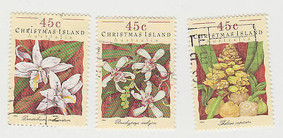 (CIA-50) 1994 Christmas Island mix of 3 orchids