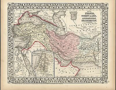 Persia Afghanistan Turkey Holy Land 1867 antique lithograph hand color map