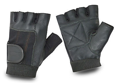 Leather Half Finger Gym Cycling Gloves Bike Padded Bicycle Fingerless Sports