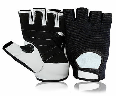 Leather Half Finger Cycling Gloves Bike Padded Bicycle Gym Fingerless Sports