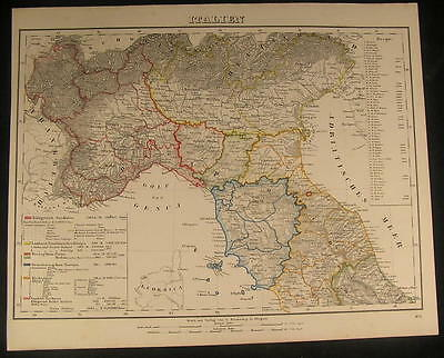 Lombardy Venice Genoa North Italy 1854 antique lithograph  detailed color map