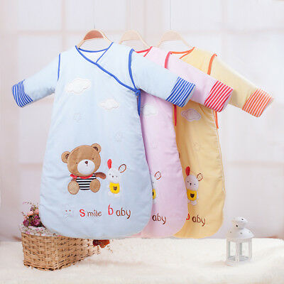 Super Warm Baby Sleeping Bag Sleepsack Travel Removable Sleeves Cute Comfy 0-36M