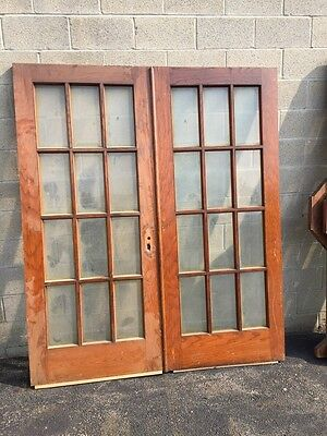 T12 One Pair Antique Oak Beveled Glass French Doors