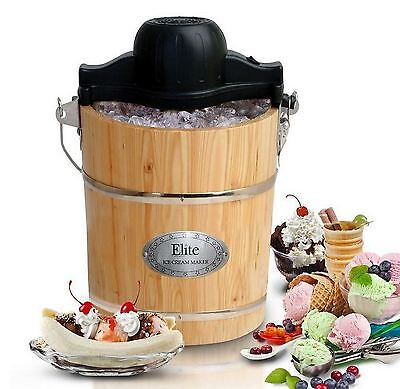 New Old Fashioned 6 Quart Ice Cream Maker, Electric & Hand Crank, Wood Bucket