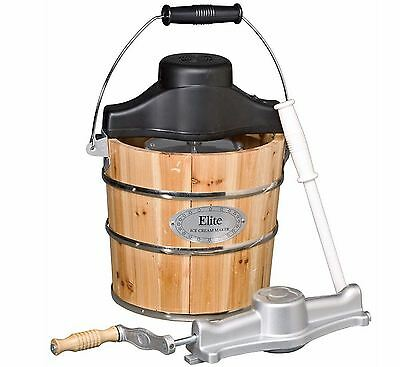New Old Fashioned 4 Quart Ice Cream Maker, Electric & Hand Crank, Wood Bucket