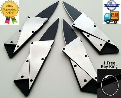 4 x Credit Card Knives Lot folding steel wallet thin pocket survival micro knife