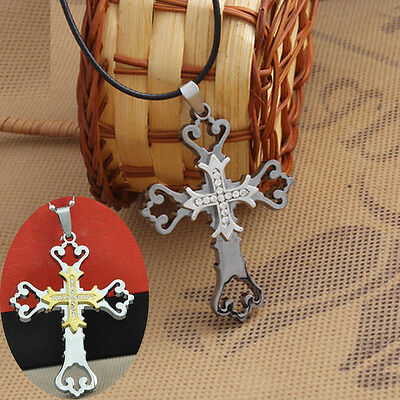 Unisex's Men Double Hollow Stainless Steel Cross Necklace Pendant Gold/Silver