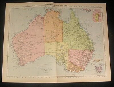 Commonwealth of Australia c.1922 vintage large detailed color map