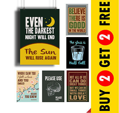 MOTIVATIONAL QUOTES POSTERS A3 A4 Retro Vintage Wall Art Prints Valentines Day