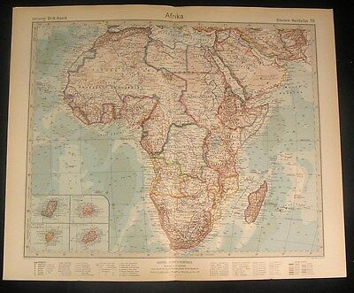 Afrika Africa continent 1920 old vintage large detailed color map
