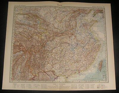China & Taiwan Yellow Sea 1927 old vintage large detailed color map