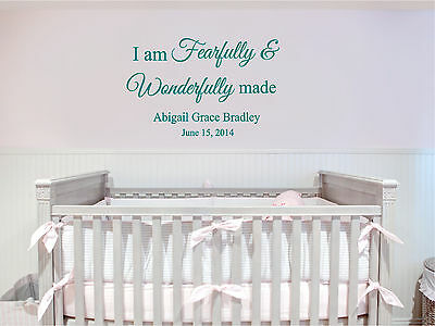 Personalized Nursery Wall Sticker Fearfully & Wonderfully Made Vinyl Decal Mural