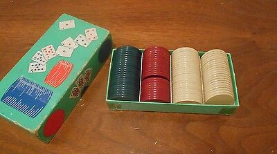 Vintage Anchor Poker Chips With Box 1 1/2 inch
