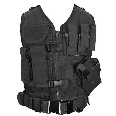 Black TACTICAL VEST - Combat Assault Airsoft Army Molle Attachment Rig Top