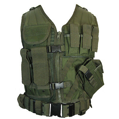 Olive Green TACTICAL VEST - Combat Assault Airsoft Army Molle Attachment Rig Top