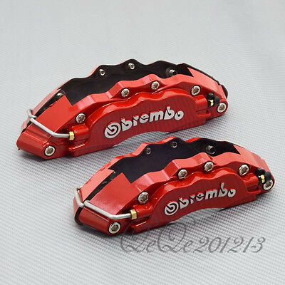 Metal Red Size M + S 3D Brembo Brake Calipers Covers Front + Rear Universal Kit