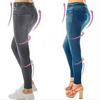 New Faux Denim Jeans Look Stretchy Women Pencil Leggings Jeggings Tight Pants B